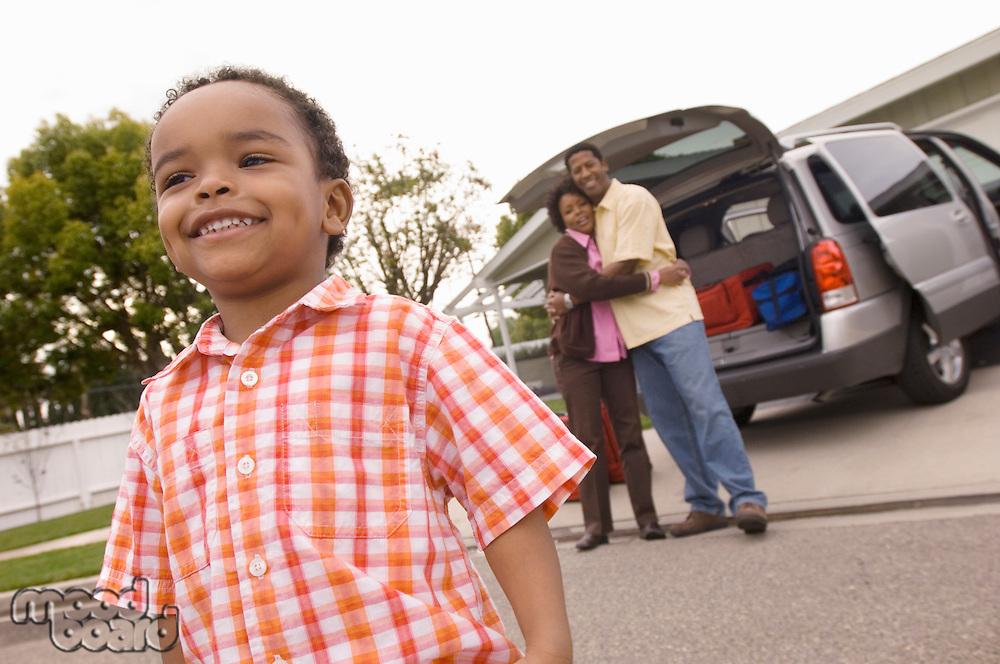 Boy Looking Around Neighborhood