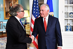 October 13, 2017 - Washington, DC, United States of America - U.S. Secretary of State Rex Tillerson shakes hands with Organization of American States Secretary General Luis Almagro prior to their bilateral meeting October 13, 2017 in Washington D.C. (Credit Image: © State Department/Planet Pix via ZUMA Wire)