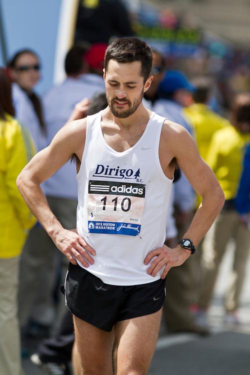 2013 Boston Marathon: Robert Gomez, ME, after crossing finish line