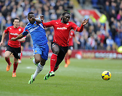 Cardiff City's Kenwyne Jones battles for the ball with Hull City's Maynor Figueroa - Photo mandatory by-line: Joe Meredith/JMP - Tel: Mobile: 07966 386802 22/02/2014 - SPORT - FOOTBALL - Cardiff - Cardiff City Stadium - Cardiff City v Hull City - Barclays Premier League
