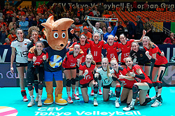 08–01-2020 NED: Olympic qualification tournament women, Apeldoorn<br /> Belgium - Germany / Germany celebrate