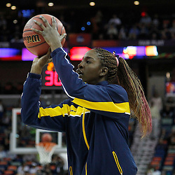 April 7, 2013; New Orleans, LA, USA; California Golden Bears forward Gennifer Brandon (25) warms up before the semifinals during the 2013 NCAA womens Final Four against the Louisville Cardinals at the New Orleans Arena. Mandatory Credit: Derick E. Hingle-USA TODAY Sports