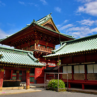 Historical Description of Shizuoka Sengen Jinja in Shizuoka, Japan <br /> Shizuoka Sengen Jinja is a complex of 26 Important Cultural Properties. Three Shinto shrines co-exist on about 11 acres: Kanbe Jinja, Asama Jinja and Otoshimioya Jinja. Their origin ranges from 1,100 to over 2,000 years old. Tokugawa Ieyasu, who founded Japan's Tokugawa period (1603 – 1868), celebrated his coming of age here as a teenager. In 1582, when Ieyasu had become a master warlord, he burned the shrines down as part of a battle strategy but vowed to rebuild if he was victorious. In 1586, he kept his promise and sponsored a major reconstruction. They were restored again during the 19th century and then extensively renovated in 2013.