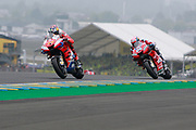 #43 Jack Miller, Australian: Alma Pramac Racing Ducati leads #4 Andrea Dovizioso, Italian: Mission Winnow Ducati Team during racing on the Bugatti Circuit at Le Mans, Le Mans, France on 19 May 2019.