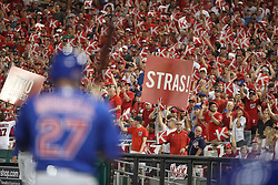 October 6, 2017 - Washington, DC, USA - Fans react as Chicago Cubs shortstop Addison Russell (27) bats in the second inning against the Washington Nationals during Game 1 of a National League Division Series on Friday, Oct. 6, 2017, at Nationals Park in Washington D.C. (Credit Image: © Chris Sweda/TNS via ZUMA Wire)