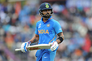 Virat Kohli of India walks off after being dismissed by Andile Phehlukwayo during the ICC Cricket World Cup 2019 match between South Africa and India at the Hampshire Bowl, Southampton, United Kingdom on 5 June 2019.
