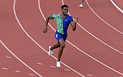 Apr 20, 2019; Torrance, CA, USA; Michael Cherry wins invitational 400m heat in 45.36 during the 61st Mt. San Antonio College Relays at El Camino College.