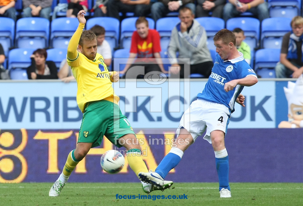 David Fox of Norwich and James McCarthy of Wigan Athletic in action during the Barclays Premier League match at the DW Stadium, Wigan...Picture by Paul Chesterton/Focus Images Ltd. .07904 640267.13/8/11