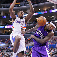 23 November 2013: Los Angeles Clippers center DeAndre Jordan (6) dunks the ball Sacramento Kings small forward John Salmons (5) during the Los Angeles Clippers 103-102 victory over the Sacramento Kings at the Staples Center, Los Angeles, California, USA.