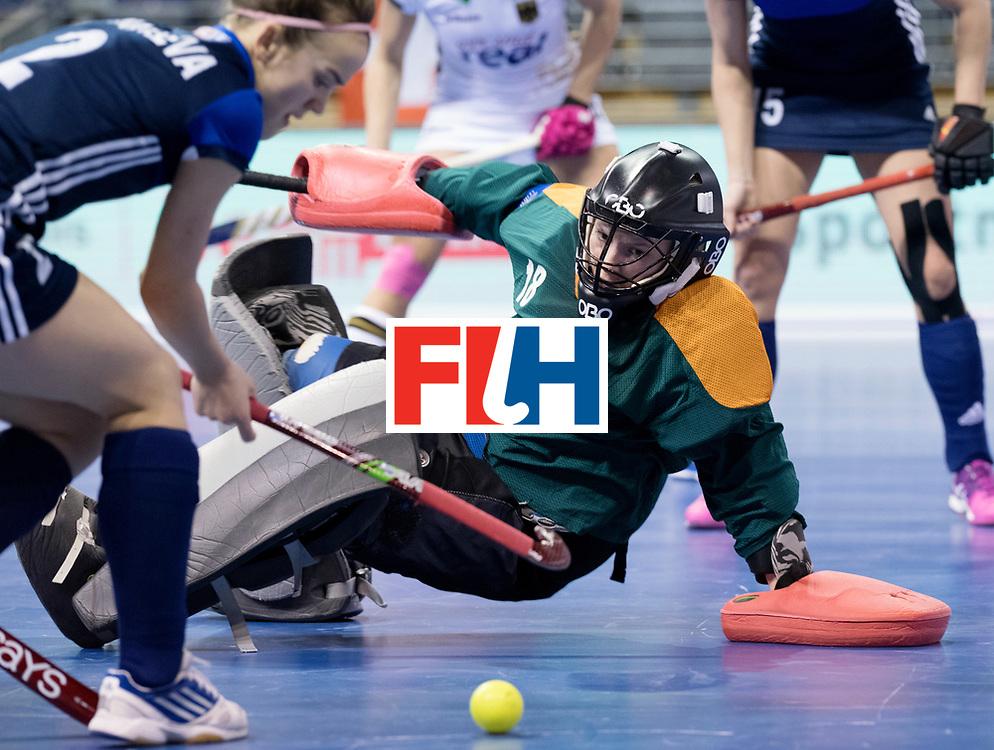 BERLIN - Indoor Hockey World Cup<br /> Women: Germany - Russia<br /> foto: ALEKSANDRINA Viktoriia (C, GK).<br /> WORLDSPORTPICS COPYRIGHT FRANK UIJLENBROEK
