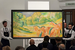"© Licensed to London News Pictures. 03/03/2016. London, UK.  Marc Chagall's ""Femme à L'Âne vert or Tête de vache verte"" (sold for a hammer price of £3.5m), at Sotheby's Impressionist, Modern & Surrealist art evening sales in New Bond Street.  The combined total of the sale was forecast to realise between £97-138m. Photo credit : Stephen Chung/LNP"