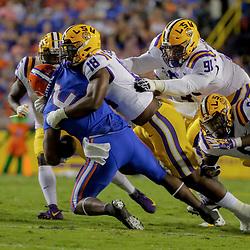 Oct 12, 2019; Baton Rouge, LA, USA; LSU Tigers linebacker K'Lavon Chaisson (18) tackles Florida Gators running back Lamical Perine (2) during the first quarter at Tiger Stadium. Mandatory Credit: Derick E. Hingle-USA TODAY Sports