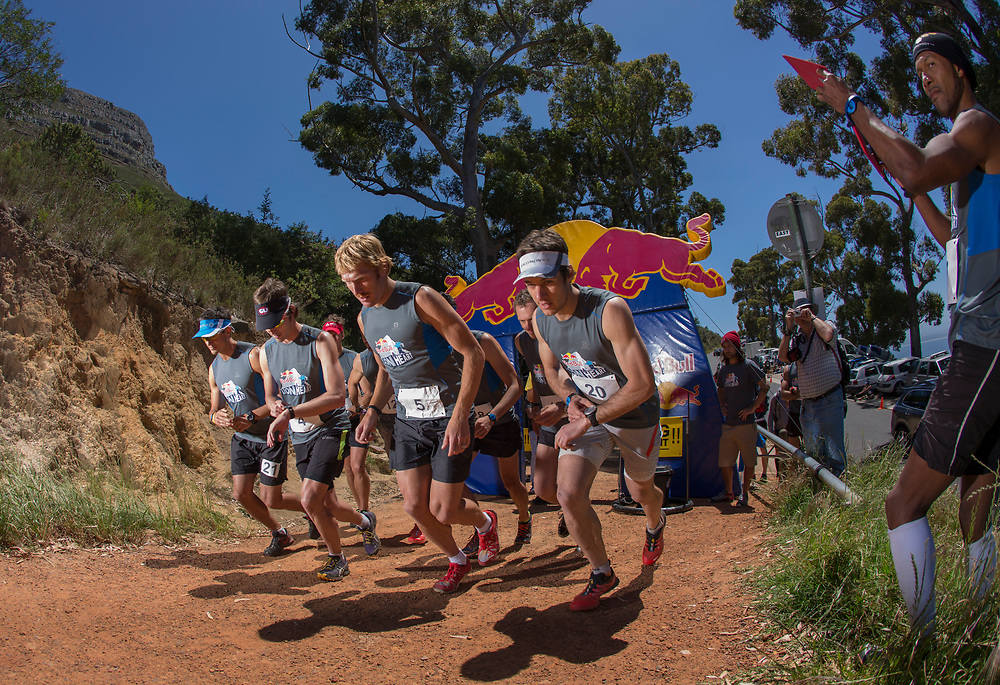 Heat 1 of the semi's gets underway during the Red Bull Lion Heart, on Lions Head, Cape Town, South Africa, 9 November 2013