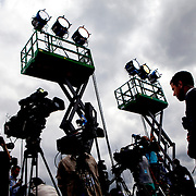 NEW YORK, N.Y. - JUNE 13, 2015: Media do live broadcasts at Four Freedoms Park on Roosevelt Island to hear Hillary Clinton give the first public speech of her presidential campaign. CREDIT: Sam Hodgson for The New York Times