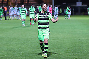 Forest Green Rovers Scott Laird(3) at the final whistle during the EFL Sky Bet League 2 match between Yeovil Town and Forest Green Rovers at Huish Park, Yeovil, England on 24 April 2018. Picture by Shane Healey.