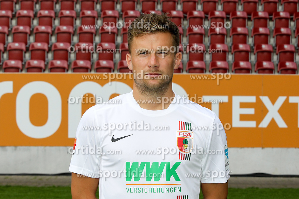 08.07.2015, WWK Arena, Augsburg, GER, 1. FBL, FC Augsburg, Fototermin, im Bild Daniel Baier #10 (FC Augsburg) // during the official Team and Portrait Photoshoot of German Bundesliga Club FC Augsburg at the WWK Arena in Augsburg, Germany on 2015/07/08. EXPA Pictures &copy; 2015, PhotoCredit: EXPA/ Eibner-Pressefoto/ Kolbert<br /> <br /> *****ATTENTION - OUT of GER*****