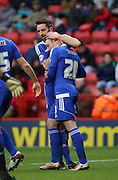 Ipswich striker Freddie Sears celebrating after scoring Ipswich second goal during the Sky Bet Championship match between Charlton Athletic and Ipswich Town at The Valley, London, England on 28 November 2015. Photo by Matthew Redman.