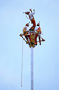 MEXICO, VERACRUZ CULTURE, VERACRUZ El Tajin site, classic period, 300-900AD; The 'Voladores', Totonac Indians performing sacred dance/ritual