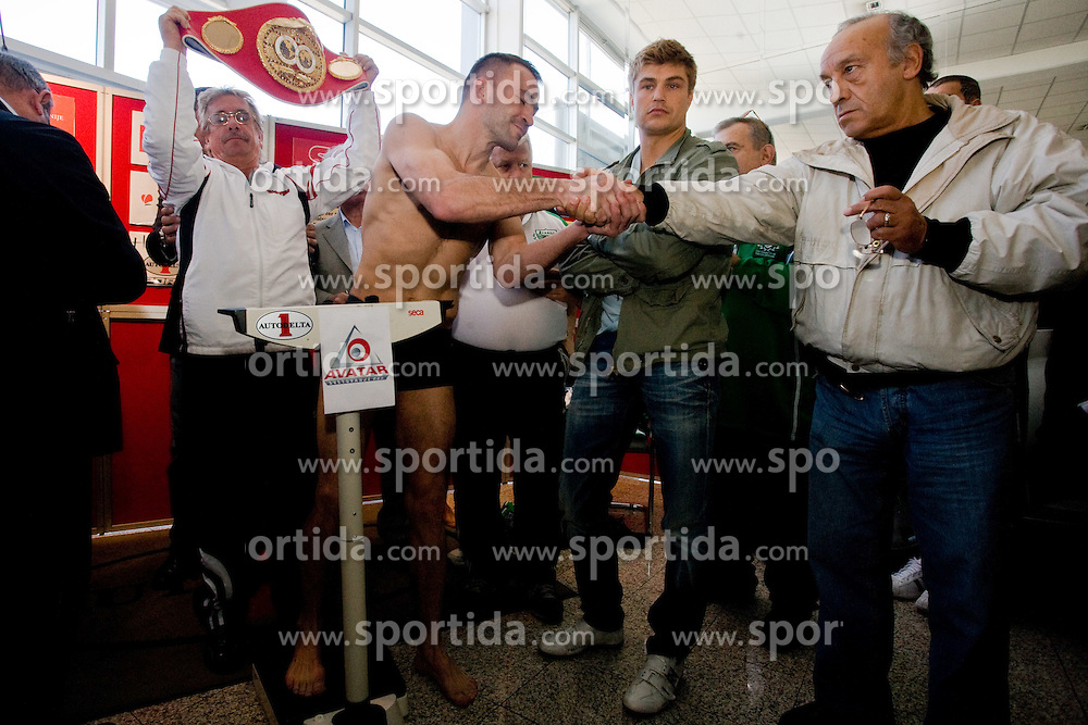 Slovenian Boxer Dejan Zavec alias Jan Zaveck alias Mr. Simpatikus and Martinez'es coach Alberto Andrada at official weighing before defending the title of IBF World Champion, on April 8, 2010, in Avto Delta, Ljubljana, Slovenia.  (Photo by Vid Ponikvar / Sportida)