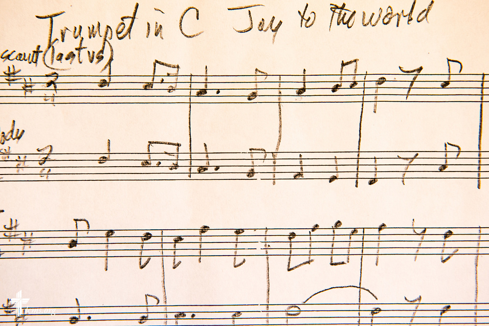 "Handwritten sheet music ""Joy to the World"" in the Graebner Memorial Chapel at Concordia University, Saint Paul, on Wednesday, August 6, 2014, in St. Paul, Minn.   LCMS Communications/Erik M. Lunsford"