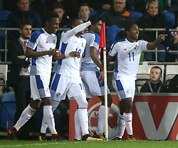 Panama's Armando Cooper (right) celebrates scoring his side's first goal of the game