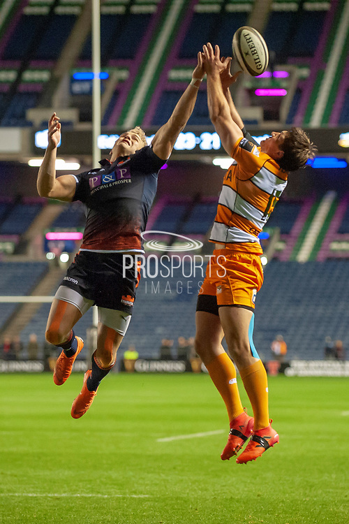 Duhan van der Merwe (#11) of Edinburgh Rugby and Louis Fouche (#15) of the Toyota Cheetahs jump for the ball during the Guinness Pro 14 2018_19 match between Edinburgh Rugby and Toyota Cheetahs at BT Murrayfield Stadium, Edinburgh, Scotland on 5 October 2018.