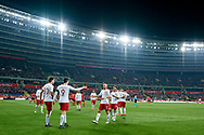 Chorzow, Poland - 2018 March 27: Robert Lewandowski from Poland celebrates with team mates after scoring while Poland v South Korea International Friendly Soccer match at Stadion Slaski on March 27, 2018 in Chorzow, Poland.<br /> <br /> Mandatory credit:<br /> Photo by © Adam Nurkiewicz / Mediasport<br /> <br /> Adam Nurkiewicz declares that he has no rights to the image of people at the photographs of his authorship.<br /> <br /> Picture also available in RAW (NEF) or TIFF format on special request.<br /> <br /> Any editorial, commercial or promotional use requires written permission from the author of image.