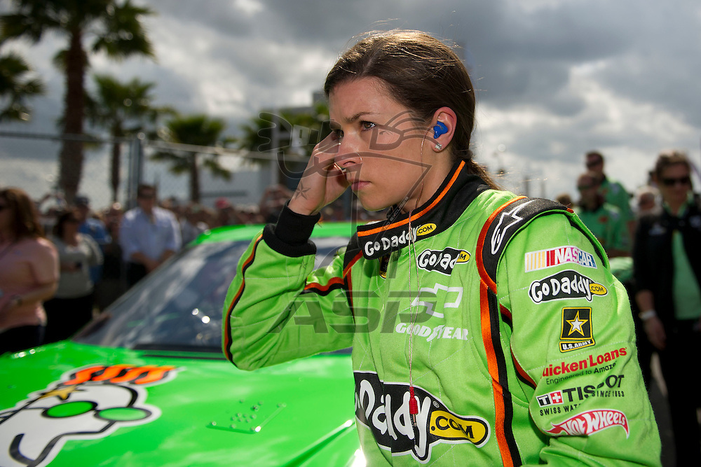 Daytona Beach, FL - FEB 19, 2012: Danica Patrick (10) gets out of the car during qualifying for the Daytona 500 at the Daytona International Speedway in Daytona Beach, FL.