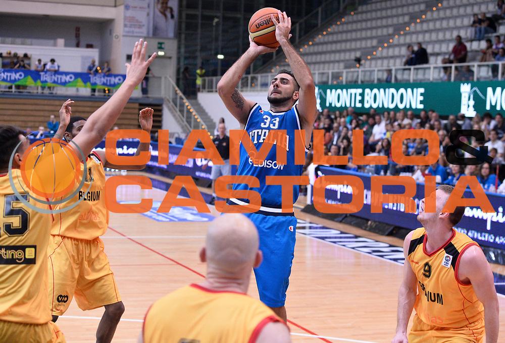 DESCRIZIONE : Trento Nazionale Italia Uomini Trentino Basket Cup Italia Belgio Italy Belgium<br /> GIOCATORE : Pietro Aradori<br /> CATEGORIA : tiro<br /> SQUADRA : Italia Italy<br /> EVENTO : Trentino Basket Cup<br /> GARA : Italia Belgio Italy Belgium<br /> DATA : 12/07/2014<br /> SPORT : Pallacanestro<br /> AUTORE : Agenzia Ciamillo-Castoria/R.Morgano<br /> Galleria : FIP Nazionali 2014<br /> Fotonotizia : Trento Nazionale Italia Uomini Trentino Basket Cup Italia Belgio Italy Belgium
