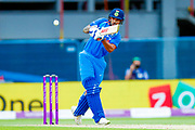 India ODI batsman Shikhar Dhawan chips England ODI all rounder Ben Stokes for a boundary during the 3rd Royal London ODI match between England and India at Headingley Stadium, Headingley, United Kingdom on 17 July 2018. Picture by Simon Davies.
