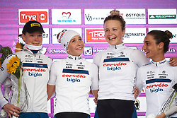 Ann-Sophie Duyck (BEL), Cecilie Uttrup Ludwig (DEN), Emma Norsgaard Jorgensen (DEN) and Ashleigh Moolman Pasio (RSA) on the podium at Ladies Tour of Norway 2018 Team Time Trial, a 24 km team time trial from Aremark to Halden, Norway on August 16, 2018. Photo by Sean Robinson/velofocus.com