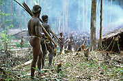 Armed Kombai sentries watch as guests arrive at the site of a sago grub festival in Papua, Indonesia. September 2000. The Kombai are a so-called treehouse people, building their homes high up in the trees, and the sago grub festival, during which large quantities of sago grubs are consumed, is their most important religious rite.