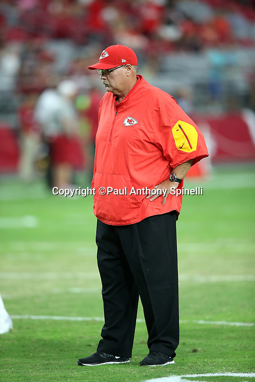 Kansas City Chiefs head coach Andy Reid watches pregame warmups before the 2015 NFL preseason football game against the Arizona Cardinals on Saturday, Aug. 15, 2015 in Glendale, Ariz. The Chiefs won the game 34-19. (©Paul Anthony Spinelli)