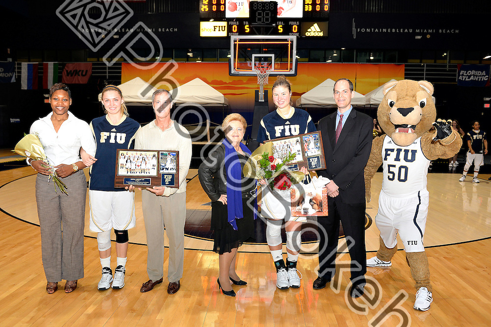 2015 February 28 - FIU seniors Marita Davydova (12) and Zsofia Labady (3) were honored at the US Century Bank Arena, Miami, Florida. (Photo by: Alex J. Hernandez / photobokeh.com) This image is copyright by PhotoBokeh.com and may not be reproduced or retransmitted without express written consent of PhotoBokeh.com. ©2015 PhotoBokeh.com - All Rights Reserved
