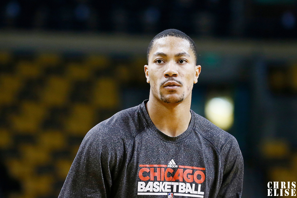 13 February 2013:  Chicago Bulls point guard Derrick Rose (1) warms up prior to the Boston Celtics 71-69 victory over the Chicago Bulls at the TD Garden, Boston, Massachusetts, USA.