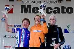 Second placed at 21km Biker Tanja Zakelj of MBK Orbea, winner Lucija Krkoc and third placed Petra Sink at the medal ceremony of the 14th Marathon of Ljubljana, on October 25, 2009, in Ljubljana, Slovenia.  (Photo by Vid Ponikvar / Sportida)