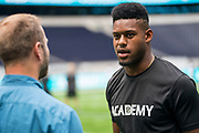 JuJu Smith-Schuster (WR, Pittsburgh Steelers) interviews at the NFL Academy Stadium Showcase during the NFL Media Day held at Tottenham Hotspur Stadium, London, United Kingdom on 2 July 2019.