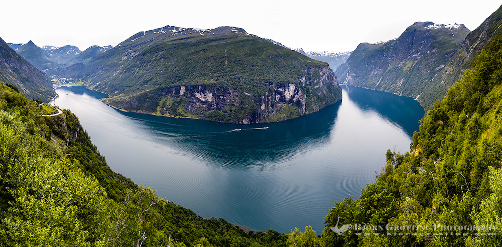Norway, Geiranger. Stitched panorama of The Geiranger Fjord