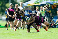 KELOWNA, BC - JULY 26: Team BC U15 takes on the Alberta Wolfpack during the Rugby Western Canadian Conference Championships at Parkinson Fields on July 26, 2019 in Kelowna, Canada. (Photo by Marissa Baecker/Shoot the Breeze)