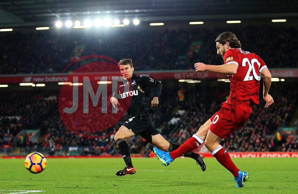 Adam Lallana of Liverpool fires a shot at goal - Mandatory by-line: Matt McNulty/JMP - 26/12/2017 - FOOTBALL - Anfield - Liverpool, England - Liverpool v Swansea City - Premier League