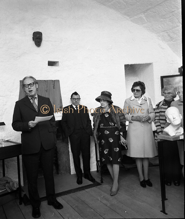 """Bloomsday at Joyce Tower,Sandycove..1972..16.06.1972..06.16.1972..16th June 1972..As part of the Bloomsday celebrations,Joyce Tower,Sandycove was renovated and opened to the public.The tower is an important part of the novel """"Ulysses"""" written by James Joyce.The celebration in part is organised by the Eastern Regional Tourism Organisation..Image of Professor Kevin Sullivan,Columbia University speaking before the unveiling of the plague. to his left is a bust of the author James Joyce."""