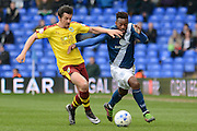 Birmingham City midfielder Jacques Maghoma takes on Burnley midfielder Joey Barton during the Sky Bet Championship match between Birmingham City and Burnley at St Andrews, Birmingham, England on 16 April 2016. Photo by Alan Franklin.