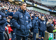 Brighton and Hove Albion Manager Chris Hughton during the Sky Bet Championship match between Brighton and Hove Albion and Bolton Wanderers at the American Express Community Stadium, Brighton and Hove, England on 13 February 2016. Photo by Bennett Dean.
