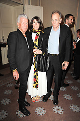 Left to right, NICKY HASLAM, BELLA FREUD and JAMES FOX at a dinner hosted by Vogue in honour of photographer David Bailey at Claridge's, Brook Street, London on 11th May 2010.