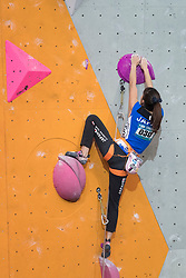 Risa Ota of Japan competes in Women Lead at the International Federation of Sport Climbing (IFSC) World Cup 2017 at Edinburgh International Climbing Arena, Scotland, United Kingdom.