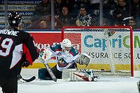 KELOWNA, CANADA - FEBRUARY 8:  James Porter #1 of the Kelowna Rockets makes a first period save against the Prince George Cougars on February 8, 2019 at Prospera Place in Kelowna, British Columbia, Canada.  (Photo by Marissa Baecker/Shoot the Breeze)