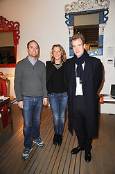 Left to right, HUGO CHITTENDEN, DAISY BLOUNT and the HON.FRANCOIS O'NEILL at reception to raise funds for a Ugandan School Project supported by the Henry van Straubenzee Memorial Fund held at Few & Far, 242 Brompton Road, London SW3 on 11th February 2010.