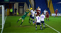 BURY, ENGLAND - Wednesday, March 6, 2019: Liverpool's Rhys Williams sees his header saved by Bury's goalkeeper James Holden during the FA Youth Cup Quarter-Final match between Bury FC and Liverpool FC at Gigg Lane. (Pic by David Rawcliffe/Propaganda)