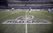 Philadelphia Eagles kicker Alex Henery (6) warms up near the NFL wild card playoff logo painted on the field for the Philadelphia Eagles NFL NFC Wild Card football game against the New Orleans Saints on Saturday, Jan. 4, 2014 in Philadelphia. The Saints won the game 26-24. ©Paul Anthony Spinelli