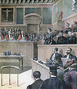 Gouffe Affair: Gabrielle Bompard and Michel Eyrard on trial for murder of Baliff Gouffe. Eyrard sentenced to death, Bompard to 20 years having claimed Eyrard hypnotised her. From 'Le Petit Journal', Paris, 20 December 1890.